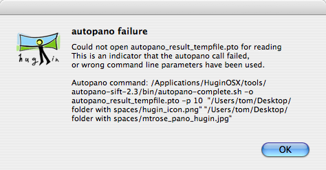 Error message from HuginOSX